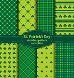 Happy St. Patrick's Day! Set of vector seamless patterns. Happy St. Patrick's Day! Set of holiday backgrounds. Collection of seamless patterns in traditional Royalty Free Stock Image