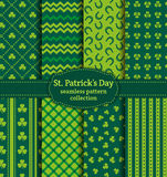 Happy St. Patrick's Day! Set of vector seamless patterns. Royalty Free Stock Photo
