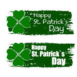 Happy St. Patrick's day with shamrock sign, green drawn banners Royalty Free Stock Photography