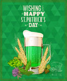 Happy St. Patrick's day. St. Patrick's day poster with beer mug on green background. Stock Photo