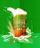 Happy St. Patrick's day. St. Patrick's day poster with beer mug on green background. Stock Photography