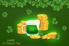 Happy St. Patrick`s day. St patricks day design with four leaved clover, stack of gold coins  on gray background. Ireland symbol pattern. Design for banner Stock Photos