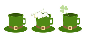 Happy St. Patrick`s Day. Three hats as cups. Foam of beer and a shamrock. Flat icons. Royalty Free Stock Photo