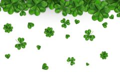 Happy St. Patrick`s day vector with falling shamrock, four leaved clover isolated on white background. Ireland symbol. Pattern. Design for banner, card Royalty Free Stock Images
