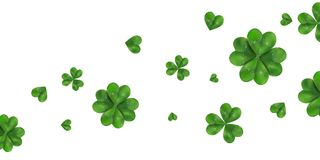 Happy St. Patrick`s day vector horizontal background with shamrock, four leaved clover isolated on white background. Ireland symbol pattern. Design for banner Stock Photography