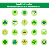 Happy St. Patrick's Day Vector Illustration Icon Set in Flat Style. Happy St. Patrick's Day vector illustration icon set. Traditional irish symbols in modern stock illustration