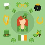 Happy St. Patrick's Day vector illustration icons Stock Photography