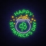 Happy St. Patrick`s Day Vector Illustration in Neon Style. Neon sign, greeting card, postcard, neon banner, bright night. Advertising, flyer. An invitation to stock illustration