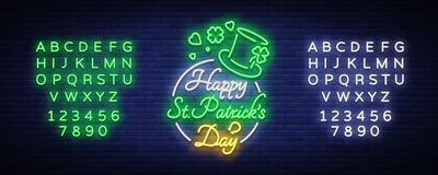 Happy St. Patrick`s Day Vector Illustration in Neon Style. Neon sign, greeting card, postcard, neon banner, bright. Advertising, flyer. Invitation to celebrate stock illustration