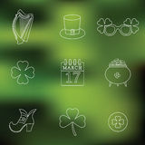 Happy St. Patrick's Day vector line Icons on Stock Image