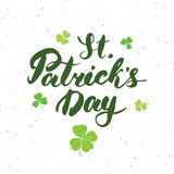 Happy St Patrick`s Day Vintage greeting card Hand lettering, Irish holiday grunge textured retro design vector illustration Stock Image