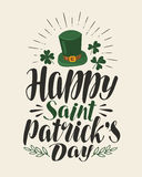 Happy st. Patrick`s Day, vintage greeting card. Holiday, irish beer festival banner. Lettering, calligraphy vector Stock Images