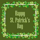 Happy St. Patrick`s. Festive background with clover and text. Vector. Illustration Stock Photo