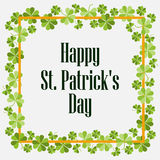 Happy St. Patrick`s. Festive background with clover and text. Vector. Illustration Royalty Free Stock Photo