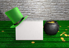 Happy St Patrick's Day leprechaun hat, pot of gold coins and notepad on green wood vintage background. 3d illustration Royalty Free Stock Images