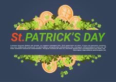 Happy St. Patricks Day Background With Golden Coins And Clover Leaves. Flat Vector Illustration Royalty Free Stock Photos