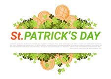 Happy St. Patricks Day Background With Golden Coins And Clover Leaves. Flat Vector Illustration Royalty Free Stock Photography