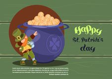 Happy St. Patricks Day Background With Green Leprechaun Over Pot Full Of Golden Coins. Flat Vector Illustration Stock Images