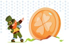 Happy St. Patricks Day Background Green Man Leprechaun Over Golden Coin With Clover Sing. Flat Vector Illustration Stock Photos