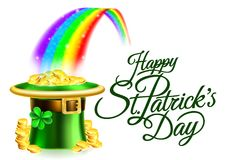 Leprechaun Hat Rainbow Happy St Patricks Day Sign. A Happy St Patricks Day background sign with leprechauns green shamrock clover hat full of gold coins at the royalty free illustration