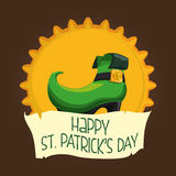 Happy st patricks day boot leprechaun badge Royalty Free Stock Photo