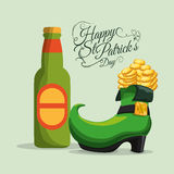 happy st patricks day bottle beer and boot coins Stock Images