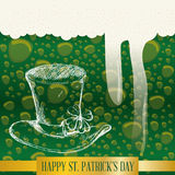 happy st patricks day bubbles green beer hat Royalty Free Stock Images