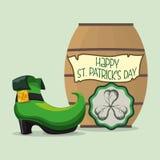 happy st patricks day card boot barrel and shamrock Stock Photo