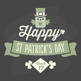 Happy St Patricks Day card on chalkboard Stock Image