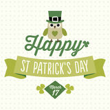 Happy St Patricks Day card with cute owl vector illustration