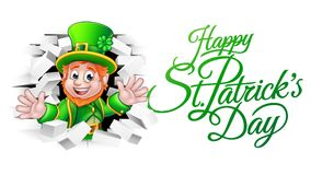 Happy St Patricks Day Cartoon Leprechaun. A cute Leprechaun cartoon character breaking through the background brick wall with Happy St Patricks Day message Royalty Free Stock Image