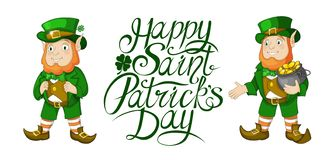 Happy St Patricks Day celebration card elements with Hand written lettering. Happy St Patricks Day celebration card template. Hand written brush lettering stock illustration