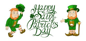 Happy St Patricks Day celebration card elements with Hand written lettering. Happy St Patricks Day celebration card template. Hand written brush lettering royalty free illustration