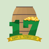 Happy st patricks day coins wooden barrel beer number seventeen Stock Image