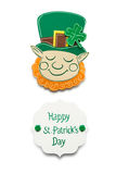 Happy St. Patricks Day. Creative St. Patricks Day concept photo of a leprechaun made of paper on white background Royalty Free Stock Photos