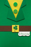 Happy St. Patricks Day. Creative St. Patricks Day concept photo of a leprechauns costume made of paper Stock Photo