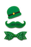 Happy St. Patricks Day. Creative St. Patricks Day concept photo of a moustache, bow and hat made of paper on white background Stock Photos
