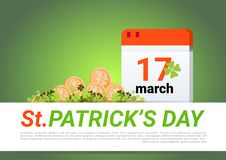 Happy St. Patricks Day Decoration Template Green Background Golden Coins And Calendar Page. Flat Vector Illustration Stock Photos