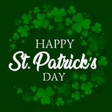 Happy St. Patricks Day elegant Vector greeting card design with clover leaves text on green shiny background. Happy St. Patricks Day elegant greeting card vector illustration