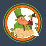 Happy St. Patricks Day Emblem Label With Leprechaun Holding Megaphone. Flat Vector Illustration Stock Photos
