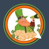 Happy St. Patricks Day Emblem Label With Leprechaun Holding Megaphone Stock Photos