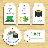 Happy st. Patricks day gift tags. Ready to use. St. Paddys day greeting. Flat design. Vector Royalty Free Stock Photo
