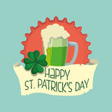 happy st patricks day glass green beer clover badge Royalty Free Stock Photos