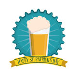 happy st patricks day glasss beer badge Royalty Free Stock Images