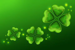 Happy St Patricks Day green background. Green greeting card or banner background. Celebrating St Patricks day on 17 March. Clover is a traditional symbol of luck Royalty Free Stock Image
