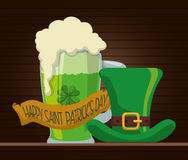 Happy st patricks day green beer hat ribbon. Illustration eps 10 Stock Photography