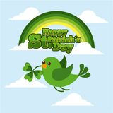 Happy st patricks day green bird flying clover in beak. Vector illustration Royalty Free Stock Image