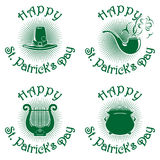 Happy St. Patricks Day green icons set. Happy St. Patricks Day icons set. Greeting inscription. Vector green icons on white background. Leprechaun hat, smoking stock illustration