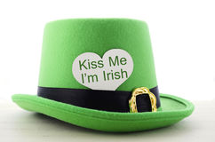 Happy St Patricks Day green leprechaun hat Stock Photos