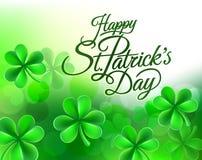 Shamrock Clover Happy St Patricks Day Background. A Happy St Patricks Day green shamrock clover leaf background sign stock illustration
